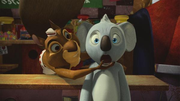 Blinky kriegt den Mund nicht zu, ausgerechnet sein Freund Jacko wird der neue Sheriff von Greenville. | Rechte: KiKA/Studio 100 Media / Flying Bark