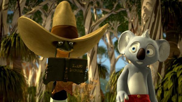 Eifersüchtig beobachtet Blinky, wie Jacko völlig in seiner neuen Rolle als Sheriff aufgeht. | Rechte: KiKA/Studio 100 Media / Flying Bark