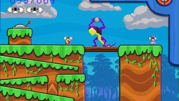 Blinky erreicht den Highscore in einem  Videospiel und bekommt dafür einen Preis. | Rechte: KiKA/Studio 100 Media / Flying Bark