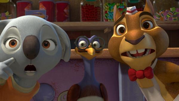 Ängstlich stellen Katie, Robert und Eddi fest, dass sich der Fluch bewahrheitet.  | Rechte: KiKA/Studio 100 Media / Flying Bark