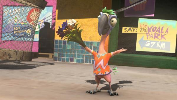 Pablo zaubert einen Blumenstrauß hervor und scheint genau der Richtige zu sein, um Blinky auf den Magierwettstreit mit der Kröte vorzubereiten. | Rechte: KiKA/Studio 100 Media / Flying Bark