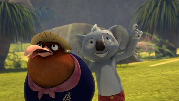 Blinky lenkt Miss Tibbins ab, damit seine Freunde dem langweiligen Unterricht entfliehen können.  | Rechte: KiKA/Studio 100 Media / Flying Bark