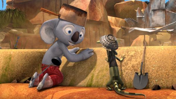 In voller Rüstung liegen Blinky und Jacko auf der Lauer.  | Rechte: KiKA/Studio 100 Media / Flying Bark