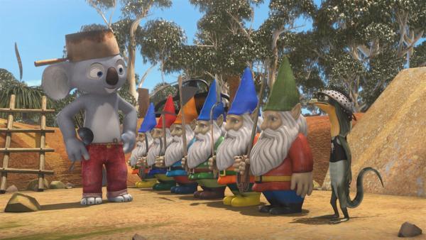 Blinky mustert seine Zwergenkompanie, mit der er Wombos Kompost gegen die fiesen Krähen beschützen will. | Rechte: KiKA/Studio 100 Media / Flying Bark