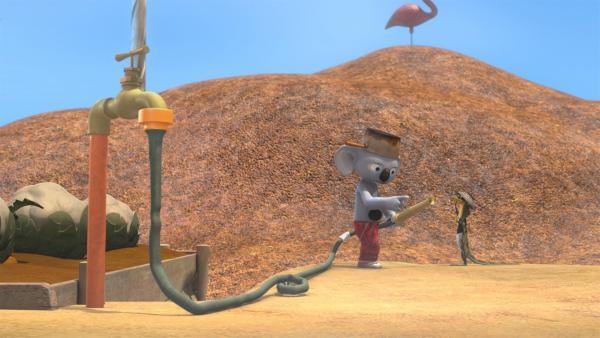 Blinky befiehlt Jacko, den Wasserhahn zu aktivieren. | Rechte: KiKA/Studio 100 Media / Flying Bark