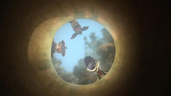 Cranky, Bandi und Curt entdecken den Tunnel, durch den Blinky und seine Freunde geflohen sind.   Rechte: KiKA/Studio 100 Media / Flying Bark