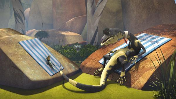 Jacko nimmt nicht ganz freiwillig ein Sonnenbad mit Cranky. | Rechte: KiKA/Studio 100 Media / Flying Bark
