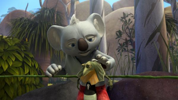 Blinky will seinem niedergeschlagenen Freund helfen, Cranky loszuwerden.   Rechte: KiKA/Studio 100 Media / Flying Bark