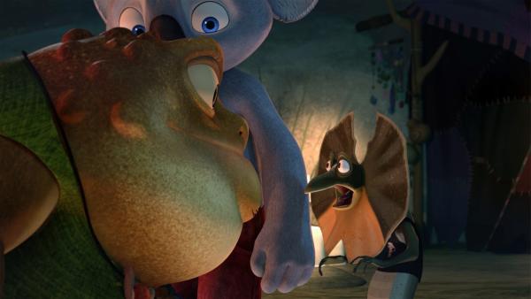 Blinky bringt seinen schreckhaften Kumpel Jacko zu einer dicken furchteinflößenden Kröte, die ihn heilen soll.  | Rechte: KiKA/Studio 100 Media / Flying Bark