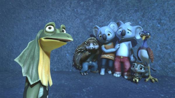 Blinky, Katie, Sugar, Spike und Robert fürchten sich vor einem weißen Gespenst, nur Jacko zeigt sich furchtlos. | Rechte: KiKA/Studio 100 Media / Flying Bark