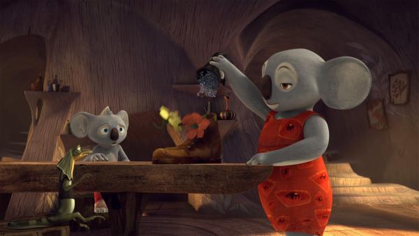 Blinkys Mom summt vor sich hin und serviert Blinky und Jacko ein völlig verrücktes Frühstück. | Rechte: KiKA/Studio 100 Media / Flying Bark