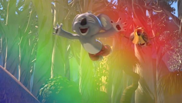 Blinky und Jacko wollen die Farben des Regenbogens probieren. | Rechte: KiKA/Studio 100 Media / Flying Bark