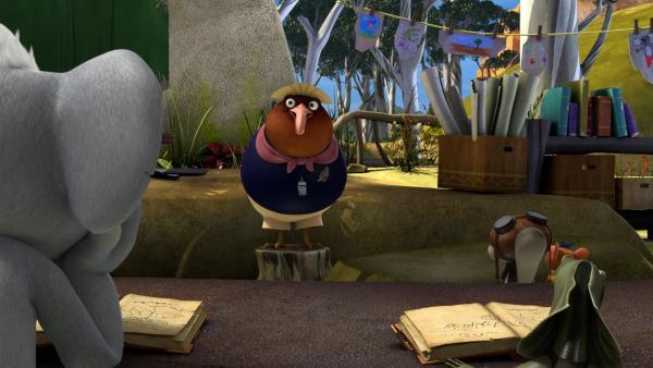 Als Jacko sich über seinen Ururonkel lustig macht, gibt Miss Tibbins Blinky und Jacko die Aufgabe, zwei Tage so zu leben, als ob sie alt wären. | Rechte: KiKA/Studio 100 Media / Flying Bark