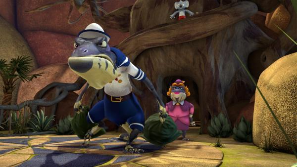 Blinky und Jacko können sich das Lachen nicht verkneifen, als sie sehen, was Crankys Mama aus dem Bürgermeister gemacht hat.   Rechte: KiKA/Studio 100 Media / Flying Bark