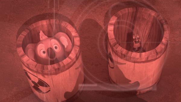 Plötzlich geraten auch Blinky und Jacko ins Visier von Crankys putzwütiger Mutter. | Rechte: KiKA/Studio 100 Media / Flying Bark