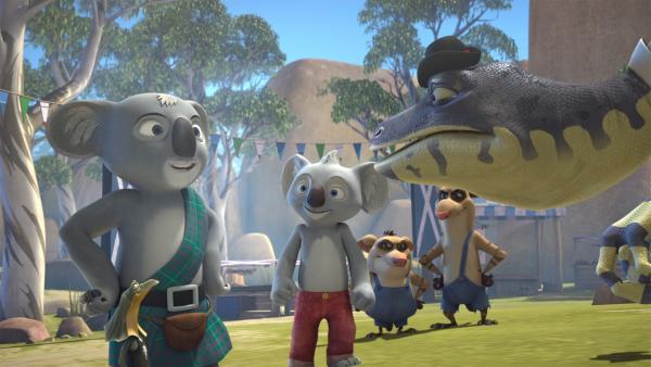 Die Mac Bills und die MacCranks messen sich in verschiedenen Disziplinen, um herauszufinden, wer der stärkste Clan ist.    Rechte: KiKA/Studio 100 Media / Flying Bark