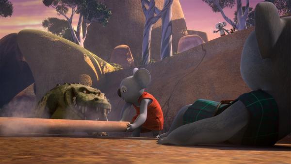 Mutig springt Mrs. Bill in die Schlucht, um Onkel Bill vor dem Krokodil  zu retten. | Rechte: KiKA/Studio 100 Media / Flying Bark