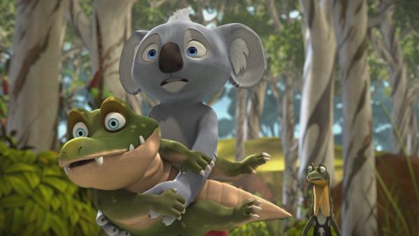 Blinky und Jacko finden ein Babykrokodil und glauben, in der Vergangenheit zu sein. | Rechte: KiKA/Studio 100 Media/Flying Bark