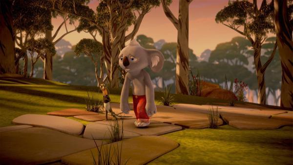 Erschöpft kehren Blinky und Jacko von ihrem Abenteuer zurück. | Rechte: KiKA/Studio 100 Media/Flying Bark