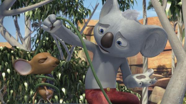 Blinky befreit Wanda, die sich in einer Liane verfangen hat. | Rechte: KiKA/Studio 100 Media/Flying Bark