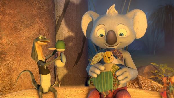 Jeder Schüler soll sich um einen kleinen Plüschfreund kümmern, Jacko kümmert sich um Mister Schnute und Blinky um den Hasen Blanky.   Rechte: KiKA/Studio 100 Media / Flying Bark
