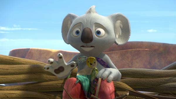 Blinky und Jacko wollen Mister Schnute, Jackos Plüschente, befreien, die von einem Adlerweibchen in ihren Horst gebracht wurde.  | Rechte: KiKA/Studio 100 Media / Flying Bark