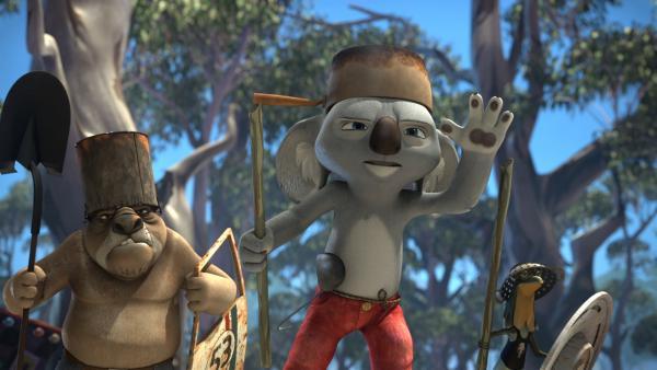Blinky, Wombo und Jacko müssen Greenville vor einer verrückten Maschine retten, mit der Bandi und Curt Wombos Cousins jagen wollten.  | Rechte: KiKA/Studio 100 Media / Flying Bark