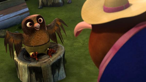 Als sie in der Schule erfahren, dass Whoogle nicht fliegen kann, beschließen Blinky und Jacko, ihm zu helfen.  | Rechte: KiKA/Studio 100 Media / Flying Bark