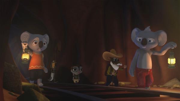 Ein Hinweis im Buch seines Vaters führt Blinky zu einer Goldmine, wo er mit Jacko, Katie, Sugar und einem alten Goldgräber nach Gold sucht. | Rechte: KiKA/Studio 100 Media / Flying Bark