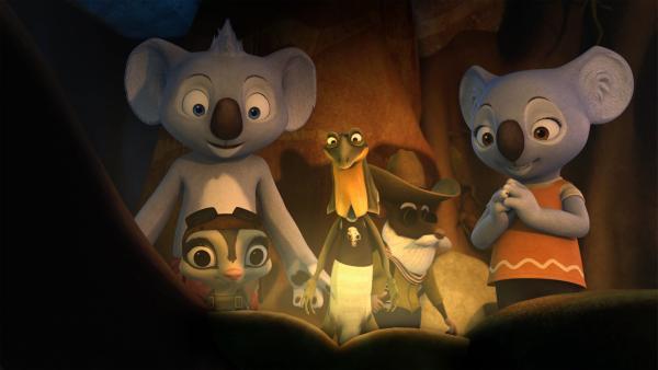 Blinky und seine Freunde freuen sich über das viele Gold, ohne zu ahnen, das Crankys Lakaien ihnen das Gold stehlen wollen. | Rechte: KiKA/Studio 100 Media / Flying Bark
