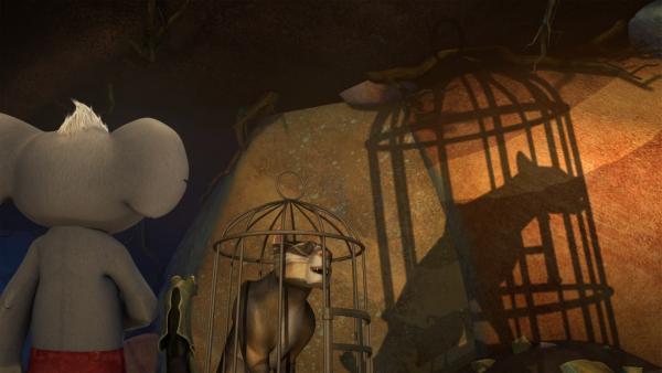 Blinky und Jacko überwältigen Sir Charles und sperren ihn in den Käfig. | Rechte: KiKA/Studio 100 Media / Flying Bark