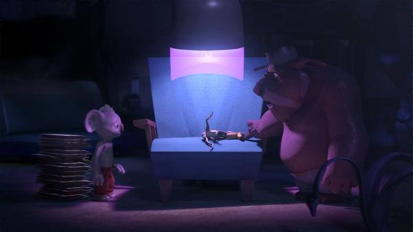 Blinky bringt seinen gehirngewaschenen Freund Jacko zu Wombo, der ihn mit einem thermogalaktischen Geistreinger zurückholen will. | Rechte: KiKA/Studio 100 Media / Flying Bark