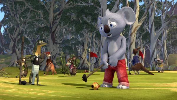 Die Bewohner sind verrückt nach Golf, das Blinky erfunden hat. | Rechte: KiKA/Studio 100 Media / Flying Bark