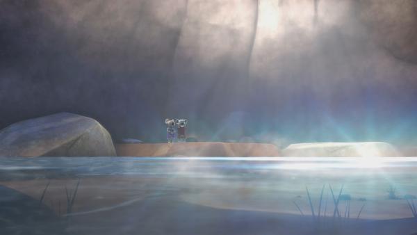 Blinkys Mom erinnert sich daran, dass es einen unterirdischen See gibt, den sie mit Blinkys Vater entdeckt hat.  | Rechte: KiKA/Studio 100 Media / Flying Bark