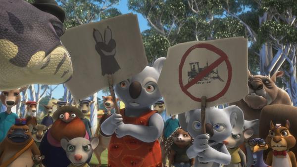 Blinky und seine Mom demonstrieren für freies Wasser.   Rechte: KiKA/Studio 100 Media / Flying Bark
