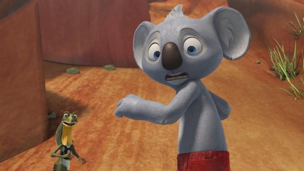 Blinky und Jacko wollen den Mystischen Berg befragen und lösen dort eine Katastrophe aus.    Rechte: KiKA/Studio 100 Media / Flying Bark