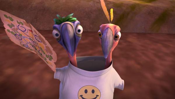 Blinky steckt Pablo und seinen Cousin in das Freundschafts-Shirt, so dass sie gezwungen sind, zusammen zu arbeiten. | Rechte: KiKA / Studio 100 Media / Flying Bark
