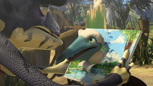 Ein kleiner Blaufußtöpel stürzt ab, landet in Crankys Gemälde und verliert sein Gedächtnis. | Rechte: KiKA/Studio 100 Media/Flying Bark