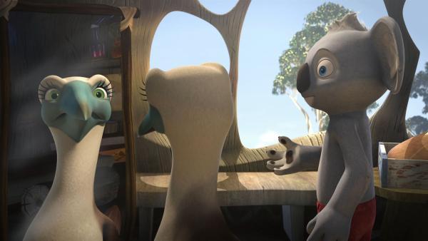 Blinky versucht Abigail, die glaubt ein Koala zu sein, zu erklären, dass sie ein Blaufußtölpel ist. | Rechte: KiKA/Studio 100 Media/Flying Bark