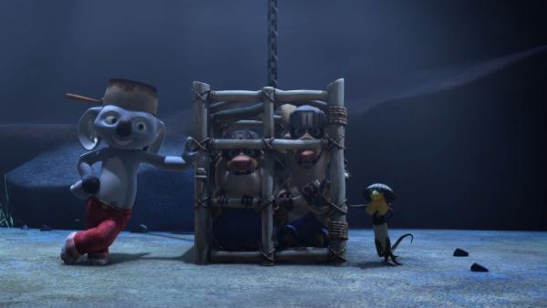 Blinky, Jacko, Bandi und Curt, alle spielen ihre Rolle in der Geschichte.   Rechte: KiKA/Studio 100 Media/Flying Bark