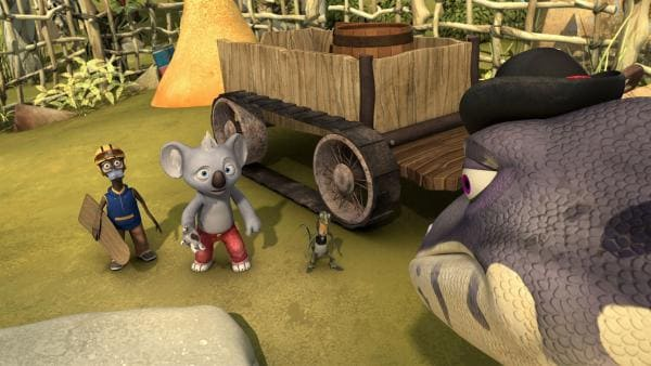Blinky stellt Cranky zur Rede und will wissen, was er mit dem gestohlenen Sand vor hat. | Rechte: KiKA/Studio 100 Media / Flying Bark