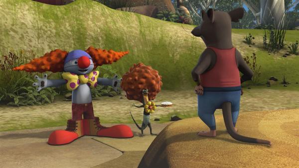 Blinky und Jacko verkleiden sich als Clowns, um im Zirkus mitzumachen. | Rechte: KiKA/Studio 100 Media / Flying Bark