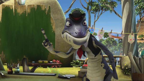 Cranky kündigt Blinky und den Anderen an, dass sie wieder in seinem Theaterstück zum Gründungstag von Greenville mitspielen dürfen.  | Rechte: KiKA/Studio 100 Media / Flying Bark