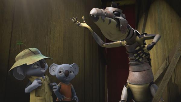 Blinky und Katie verpassen Cranky eine Rüstung, in der er nichts sieht. | Rechte: KiKA/Studio 100 Media / Flying Bark