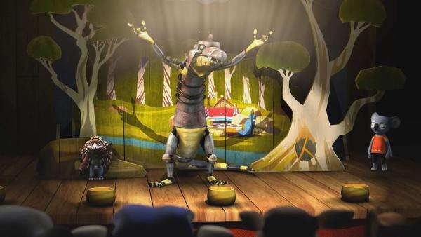 Cranky ist verwirrt: das Theaterstück läuft gar nicht so, wie er das wollte. | Rechte: KiKA/Studio 100 Media / Flying Bark