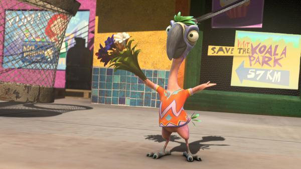 Pablo ist immer für eine Überraschung bereit. Und wenn er für Magierwettstreit einen Blumenstraß hervorzaubert. | Rechte: Studio 100 Media / Flying Bark