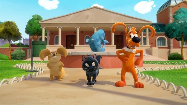 Plüsch und Rocky sind im Park und müssen sich ständig kratzen. Als dann auch noch Ming und Bill anfangen sich zu kratzen, befürchten alle einen schlimmen Flohbefall...      Rechte: NDR/Studio Boule et Bill