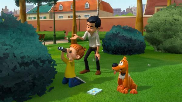 Bobby ist mit Papa und Bill im Park um Vögel zu beobachten.   Rechte: NDR/Studio Boule et Bill