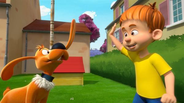 Bobby und Bill spielen lautstark im Garten. | Rechte: NDR/Studio Boule et Bill