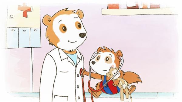 Mit dem Stethoskop darf Bobo den Herzschlag vom Doktor abhören. | Rechte: JEP ANIMATION/WDR